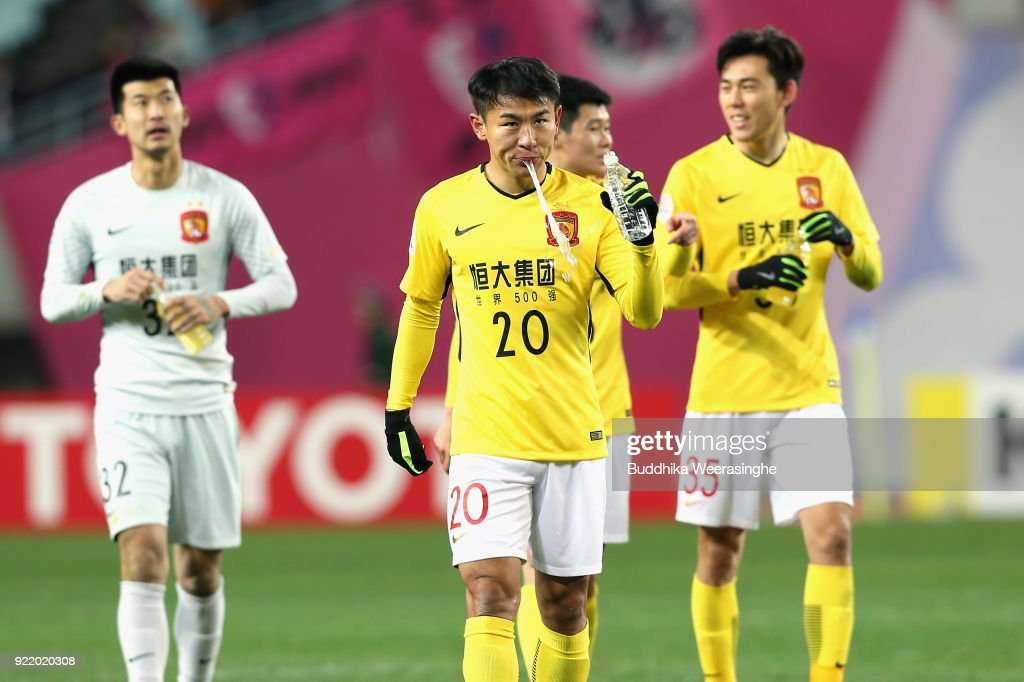 Yu Hanchao of Guangzhou Evergrande reacts after the scoreless draw in the AFC Champions League Group G match between Cerezo Osaka and Gunazhou Evergrande at the Yanmar Stadium Nagai on February 21, 2018 in Osaka, Japan.