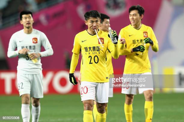 Yu Hanchao of Guangzhou Evergrande reacts after the scoreless draw in the AFC Champions League Group G match between Cerezo Osaka and Gunazhou...