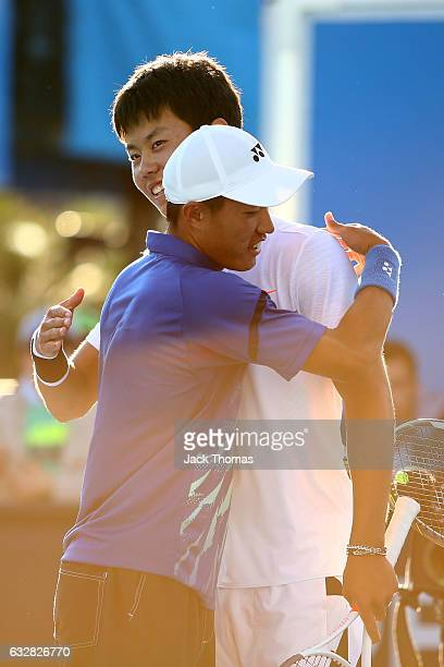 Yu Hsiou Hsu of Taipei and Lingxi Zhao of China celebrate winning their Junior Doubles Final match against Finn Reynolds of New Zealand and Duarte...