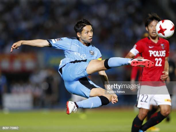 Yu Kobayashi connects with a volley during the second half of Kawasaki Frontale's 41 win at home to Urawa Reds in the JLeague on July 5 2017...