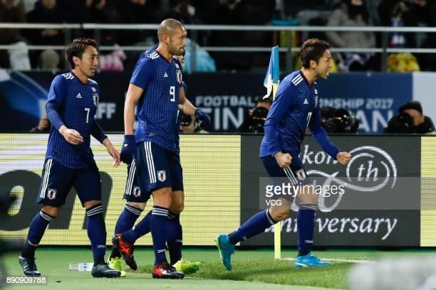 CHOFU JAPAN DECEMBER Yu Kobayashi of Japan celebrates a point during the EAFF E1 Men's Football Championship between Japan and China at Ajinomoto...