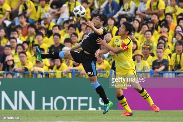 Yu Kobayashi of Kawasaki Frontale and Jiro Kamata of Kashiwa Reysol compete for the ball during the JLeague J1 match between Kashiwa Reysol and...