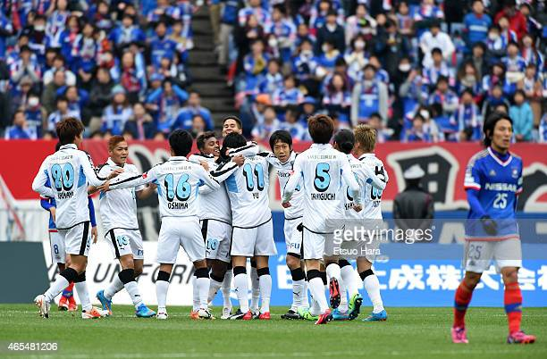 Yu Kobayashi of Kawasaki Frontale celebrates scoring his team's second goal with his team mates during the J League match between Yokohama F Marinos...