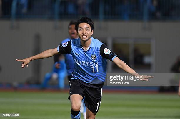 Yu Kobayashi of Kawasaki Frontale celebrates the first goal during the AFC Champions League Round of 16 match between Kawasaki Frontale and FC Seoul...
