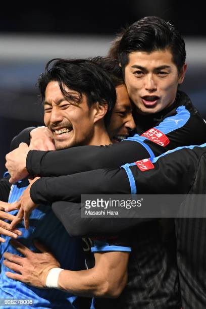 Yu Kobayashi of Kawasaki Frontale celebrates the first goal during the JLeague J1 match between Kawasaki Frontale and Shonan Bellmare at Todoroki...