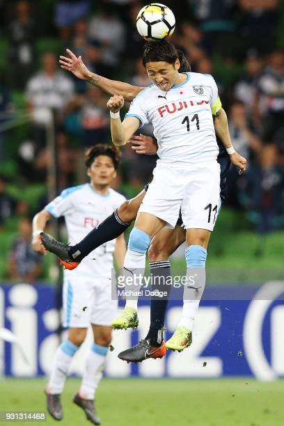 Yu Kobayashi of Kawasaki Frontale heads the ball during the AFC Asian Champions League match between the Melbourne Victory and Kawasaki Frontale at...