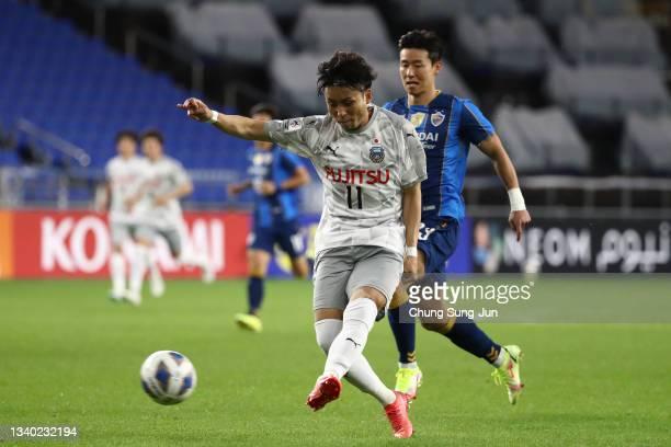 Yu Kobayashi of Kawasaki Frontale in action during the AFC Champions League round of 16 match between Ulsan Hyundai and Kawasaki Frontale at Ulsan...
