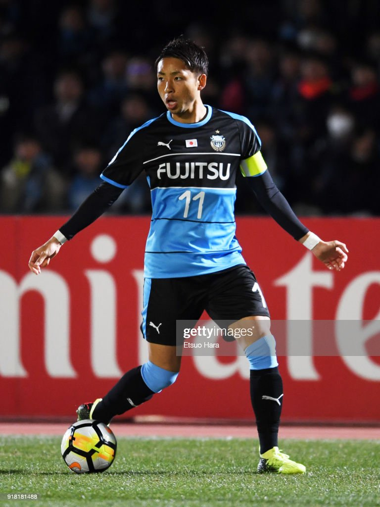 Yu Kobayashi of Kawasaki Frontale in action during the AFC Champions League Group F match between Kawasaki Frontale and Shanghai SIPG at Todoroki Stadium on February 13, 2018 in Kawasaki, Kanagawa, Japan.