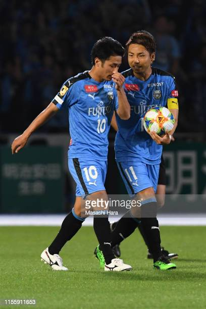 Yu Kobayashi of Kawasaki Frontale looks on after his first goal during the JLeague J1 match between Kawasaki Frontale and Consadole Sapporo at...