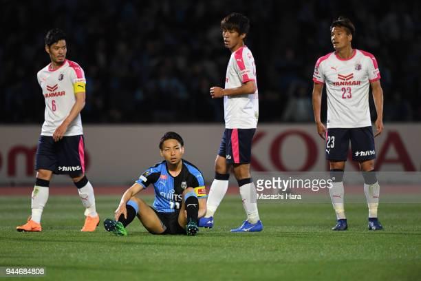 Yu Kobayashi of kawasaki Frontale looks on after the JLeague J1 match between Kawasaki Frontale and Cerezo Osaka at Todoroki Stadium on April 11 2018...
