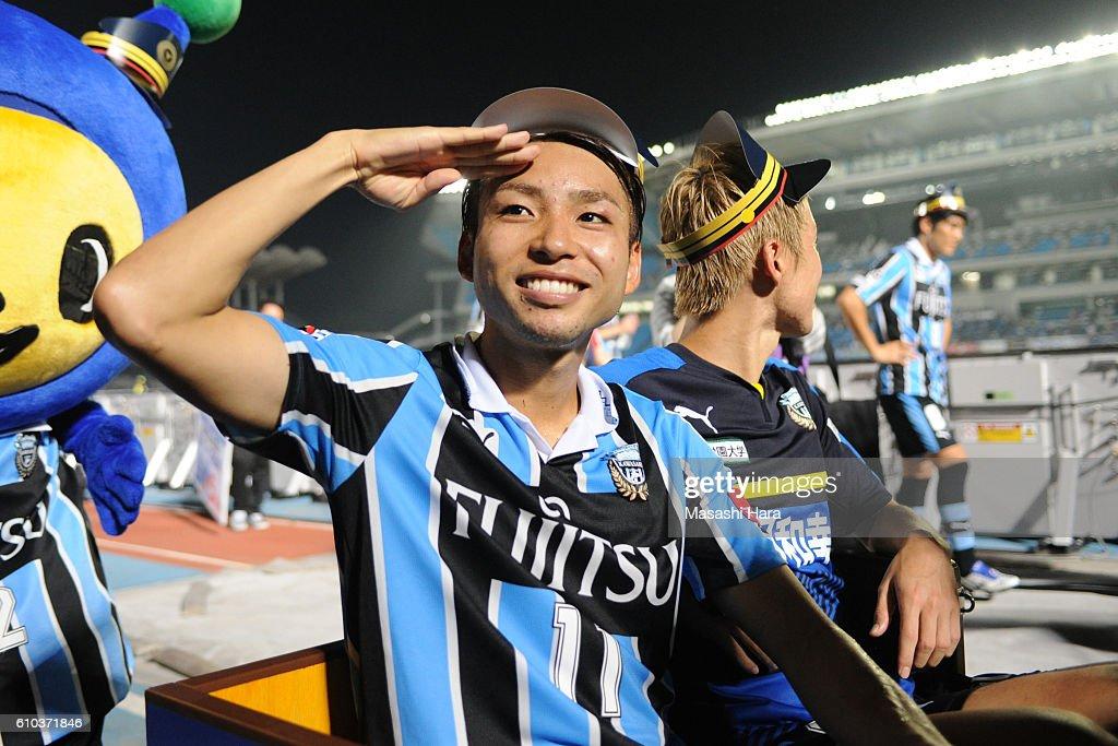 Yu Kobayashi #11 of Kawasaki Frontale looks on after the J.League match between Kawasaki Frontale and Yokohama F.Marinos at the Todoroki Stadium on September 25, 2016 in Kawasaki, Japan.