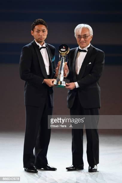 Yu Kobayashi of Kawasaki Frontale receives the J.League Player of the Year Award during the 2017 J.League Awards at Yokohama Arena on December 5,...