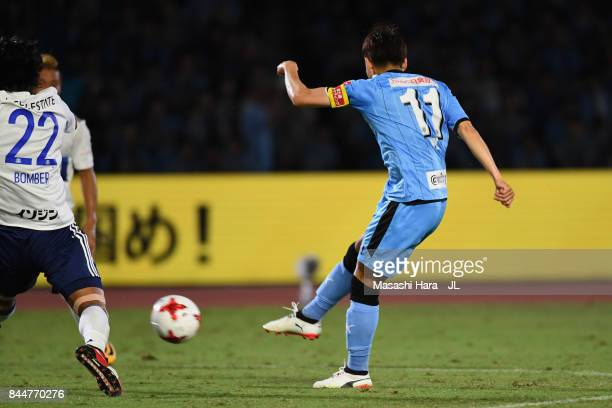 Yu Kobayashi of Kawasaki Frontale scores his side's second goal during the JLeague J1 match between Kawasaki Frontale and Yokohama FMarinos at...