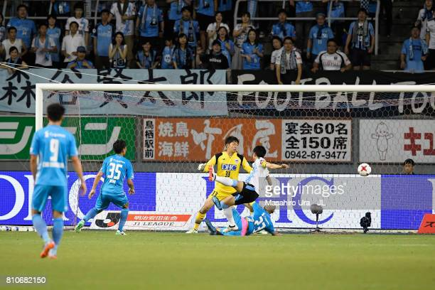Yu Kobayashi of Kawasaki Frontale scores his team's third goal during the JLeague J1 match between Sagan Tosu and Kawasaki Frontale at Best Amenity...