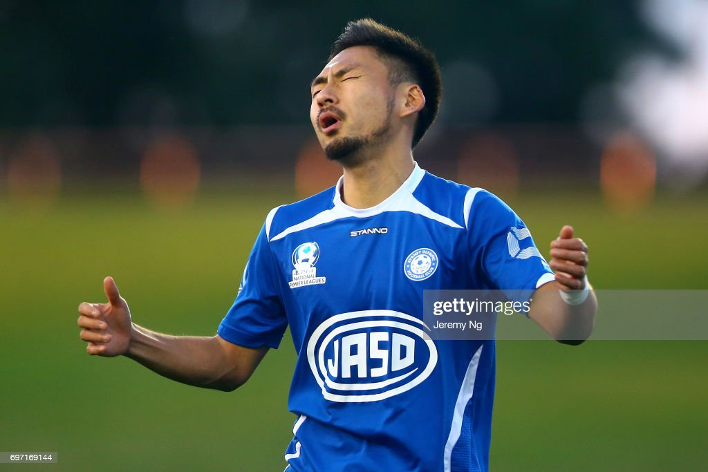 Yu Kuboki of Olympic FC reacts during the NSW NPL Men's match between Sydney Olympic FC and Parramatta FC on June 18, 2017 in Sydney, Australia.