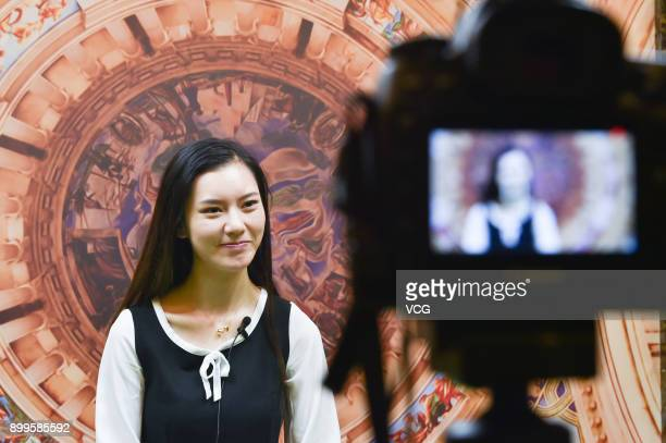 Yu Linghan receives an interview on December 24 2017 in Chengdu Sichuan Province of China 20yearold Chinese girl Yu Linghan together with her...