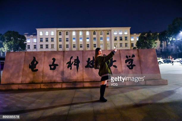 Yu Linghan takes selfies at University of Electronic Science and Technology of China on December 23 2017 in Chengdu Sichuan Province of China...