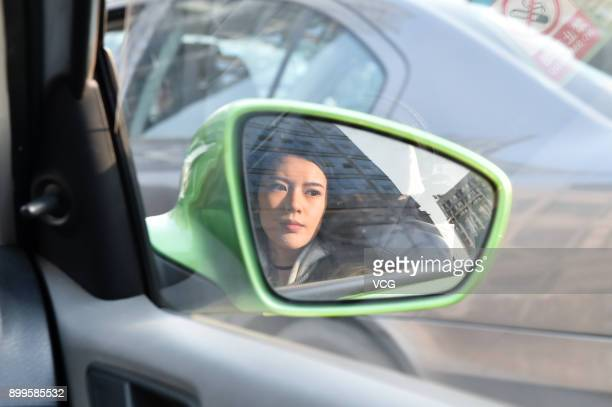 Yu Linghan takes taxi on December 23 2017 in Chengdu Sichuan Province of China 20yearold Chinese girl Yu Linghan together with her teammates of...