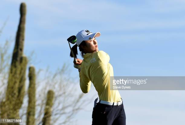 Yu Liu of China hits her drive on the 13th hole during the final round of the Bank Of Hope Founders Cup at the Wildfire Golf Club on March 24 2019 in...