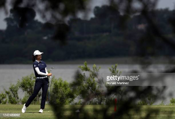 Yu Liu of China plays her shot from the 11th tee during the first round of the Energy Producers Inc Texas Women's Open on June 02 2020 in The Colony...