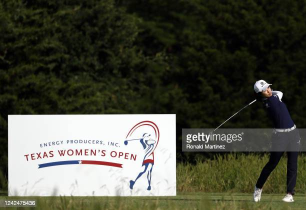 Yu Liu of China plays her shot from the 18th tee during the first round of the Energy Producers Inc Texas Women's Open on June 02 2020 in The Colony...