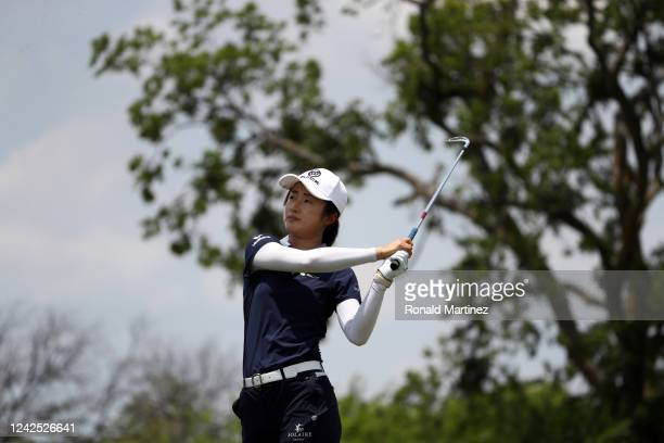 Yu Liu of China plays her shot from the 3rd tee during the first round of the Energy Producers Inc Texas Women's Open on June 02 2020 in The Colony...