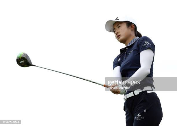 Yu Liu of China plays her shot from the 9th tee during the first round of the Energy Producers Inc Texas Women's Open on June 02 2020 in The Colony...