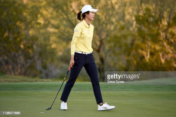 Yu Liu of China reacts as she walks off the 18th green during the final round of the Bank Of Hope Founders Cup at the Wildfire Golf Club on March 24...