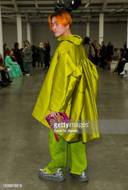 Yu Masui attends the Marques'Almeida show during London Fashion Week February 2020 at The Old Truman Brewery on February 15 2020 in London England