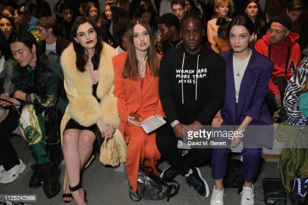 Yu Masui, Charli Howard, Aimee Lou Wood, Ncuti Gatwa and Emma Mackey attend the House of Holland AW19 London Fashion Week catwalk show, showcasing...