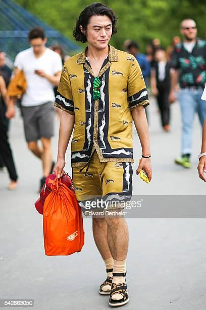 Yu Masui is seen, after the Dries Van Noten show, during Paris Fashion Week Menswear Spring/summer 2017, on June 23, 2016 in Paris, France.