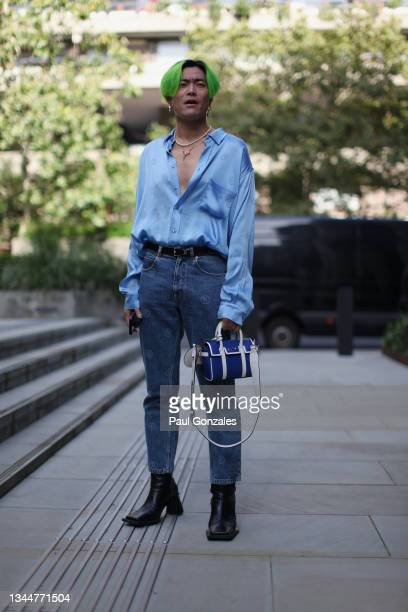 Yu Masui is seen wearing a Chambray Shirt at PRONOUNCE during London Fashion Week September 2021 on September 21, 2021 in London, England.