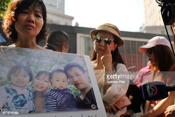 Yu Mei Chen wife of detained Chinese national Xiu Qing You attends a protest in support of her husband on June 18 2018 in New York City You a Queens...