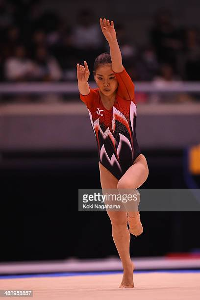 Yu Minobe of Japan competes on the floor of the Women's All Around Final during Gymnastics Tokyo World Cup 2014 at Tokyo Metropolitan Gymnasium on...