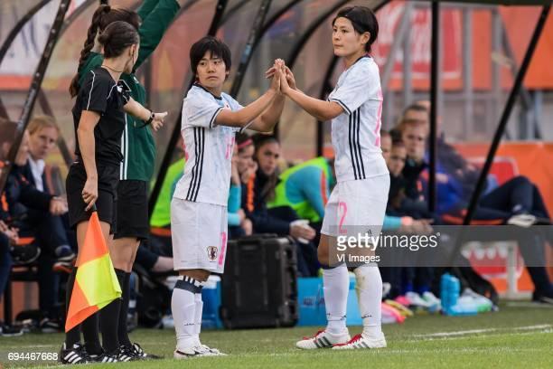 Yu Nakasato of Japan Naomoto Hikaru of Japanduring the friendly match between the women of The Netherlands and Japan at the Rat Verlegh stadium on...