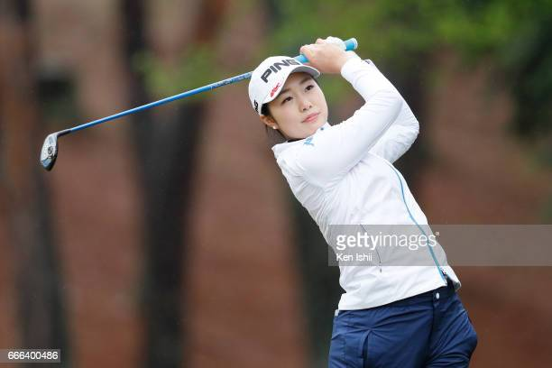 Yu Okamura plays her tee shot on the second hole during the final round of the Hanasaka Ladies Yanmar Golf Tournament at the Biwako Country Club on...