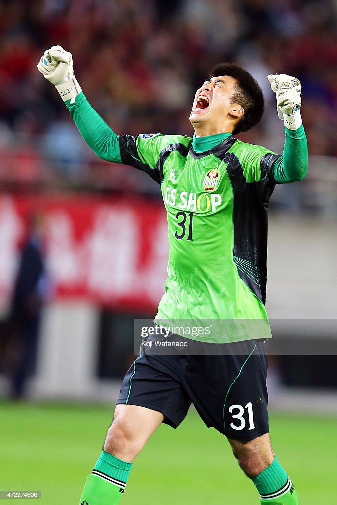 Yu Sanghan #31 of FC Seoul celebrates during the AFC Champions League Group H match between Kashima Antlers and FC Seoul at Kashima Stadium on May 5, 2015 in Kashima, Japan.