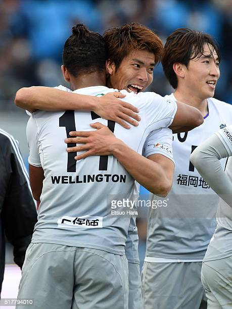 Yu Tamura of Avispa Fukuoka celebrates scoring his team's first goal during the JLeague Yamazaki Nabisco Cup match between Kawasaki Frontale and...