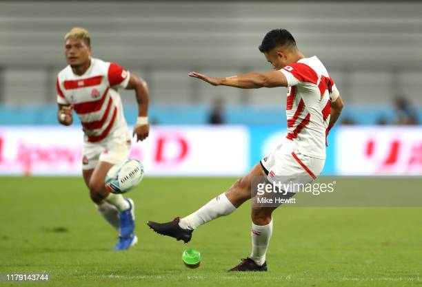 Yu Tamura of Japan kicks a penalty during the Rugby World Cup 2019 Group A game between Japan and Samoa at City of Toyota Stadium on October 05, 2019...