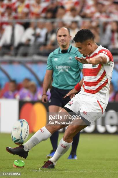 Yu Tamura of Japan kicks for 2nd penalty goal during the Rugby World Cup 2019 Group A game between Japan and Samoa at City of Toyota Stadium on...