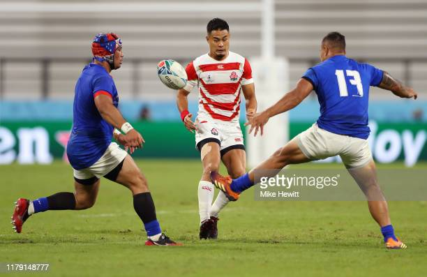 Yu Tamura of Japan kicks the ball ahead during the Rugby World Cup 2019 Group A game between Japan and Samoa at City of Toyota Stadium on October 05,...