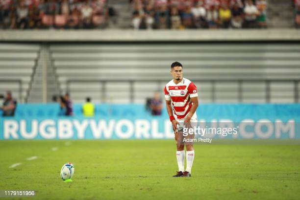 Yu Tamura of Japan lines up a kick during the Rugby World Cup 2019 Group A game between Japan and Samoa at City of Toyota Stadium on October 05, 2019...