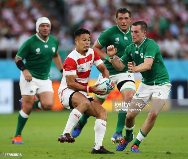 Yu Tamura of Japan passes the ball during the Rugby World Cup 2019 Group A game between Japan and Ireland at Shizuoka Stadium Ecopa on September 28,...