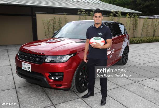 Yu Tamura of Japan poses during the Rugby World Cup 2019 Pool Draw at the Kyoto State Guest House on May 10 2017 in Kyoto Japan