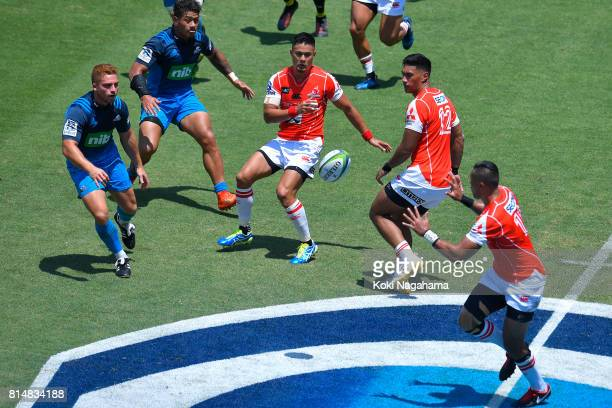 Yu Tamura of Sunwolves passes the ball during the Super Rugby match between the Sunwolves and the Blues at Prince Chichibu Stadium on July 15 2017 in...