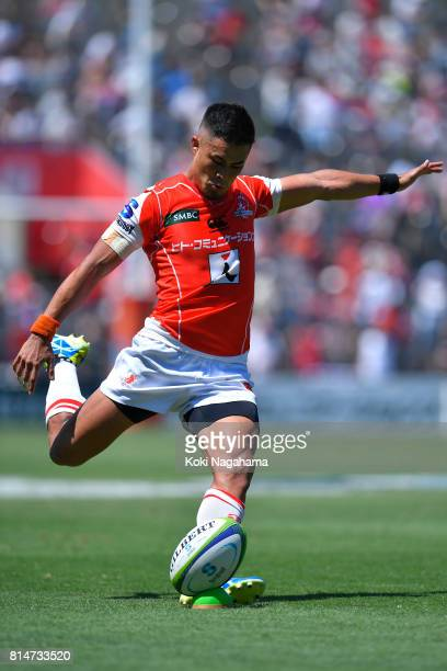 Yu Tamura of Sunwolves sets for a conversion during the Super Rugby match between the Sunwolves and the Blues at Prince Chichibu Stadium on July 15...