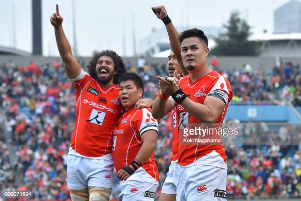 Yu Tamura waves for fans after winning the Super Rugby Rd 7 match between Sunwolves v Bulls at Prince Chichibu Memorial Ground on April 8 2017 in...