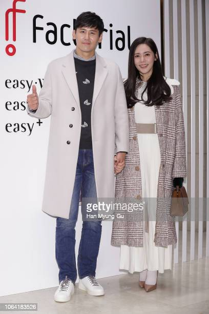 """Yu Xiaoguang from China and actress Choo Ja-Hyun attend the photocall for """"Factorial"""" Launch on November 21, 2018 in Seoul, South Korea."""