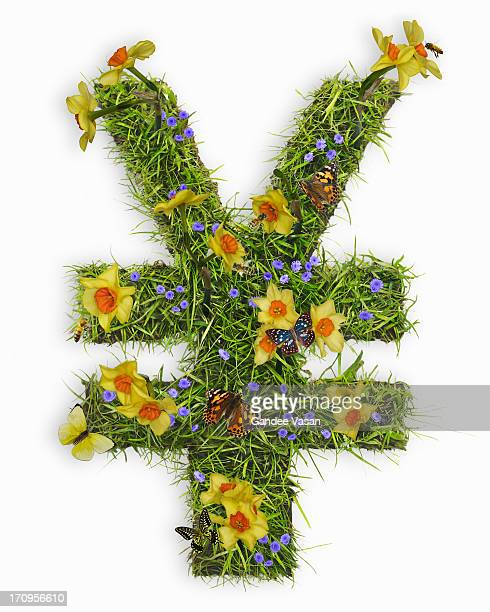 yuan and yen symbol with flowers and grass - gandee stock pictures, royalty-free photos & images