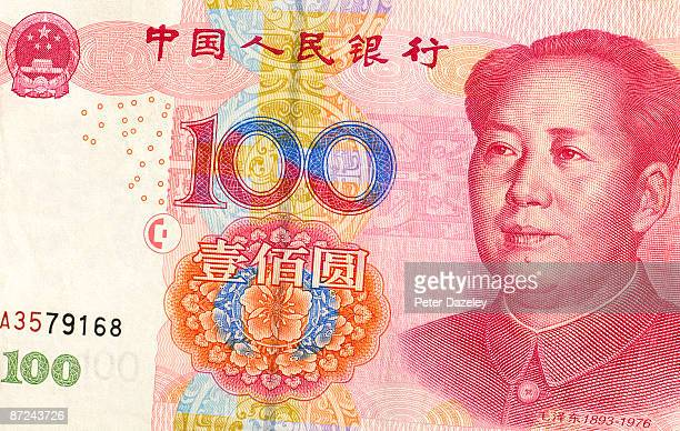 100 yuan bank note, close up - mao tsé toung stockfoto's en -beelden